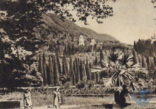 2. Вид на Ново-Афонский монастырь с западной стороны от подножия холма.